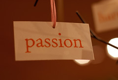 "card with the word ""passion"" written on it"
