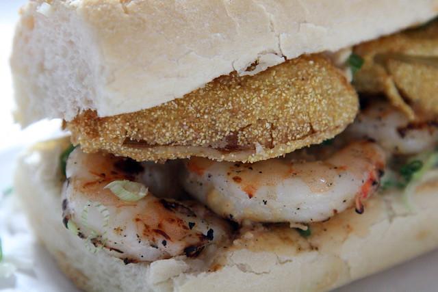 shrimp, fried green tomato, and remoulade po' boy at Mahony's Po-Boy ...
