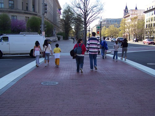 Brick crosswalks on Pennsylvania Avenue NW at 6th Street