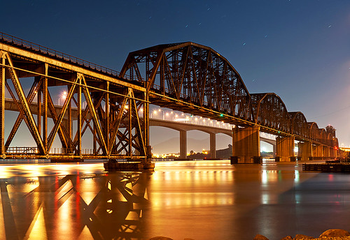california road ca camera railroad bridge blue red panorama orange moon color green water yellow night train lens stars photography 50mm prime star james photo nikon colorful long exposure track photographer purple f14 pano 14 shell sigma rail panoramic trail moonlit capitol benicia 50 refinery truss d90 larieau