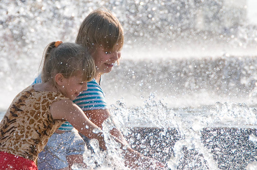 Children in fountain