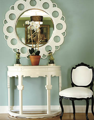 Sherwin-Williams's 'Hazel': Sage green foyer + white decor