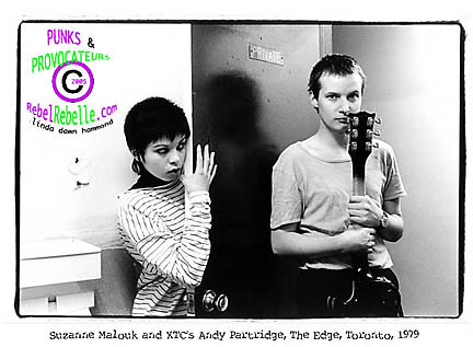 Suzanne Mallouk poses with Andy Partridge of XTC