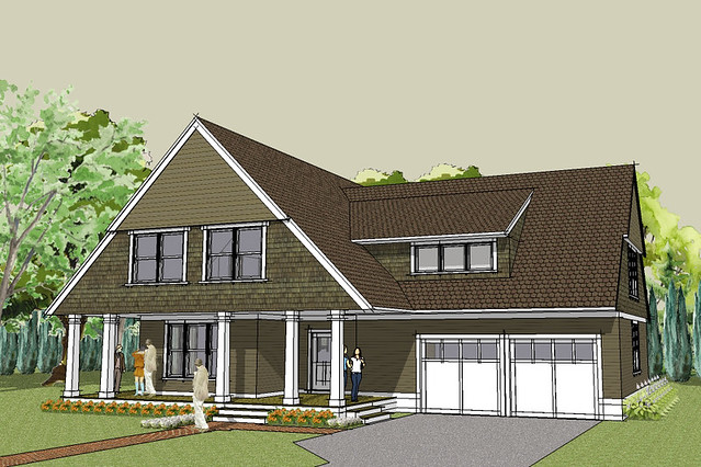 Afton bungalow house plan exterior rendering flickr Simply elegant house plans