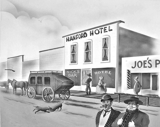 Hanford Hotel Painting...with rifle floating in mid air