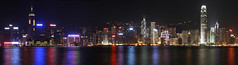 Hong Kong skyline panorama at night