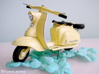 Cream lambretta scooter