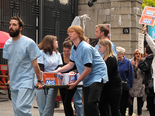 NHS petition being carried on a stretcher to the Department of Health