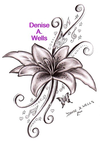 Lily Song Tattoo Design by Denise A. Wells