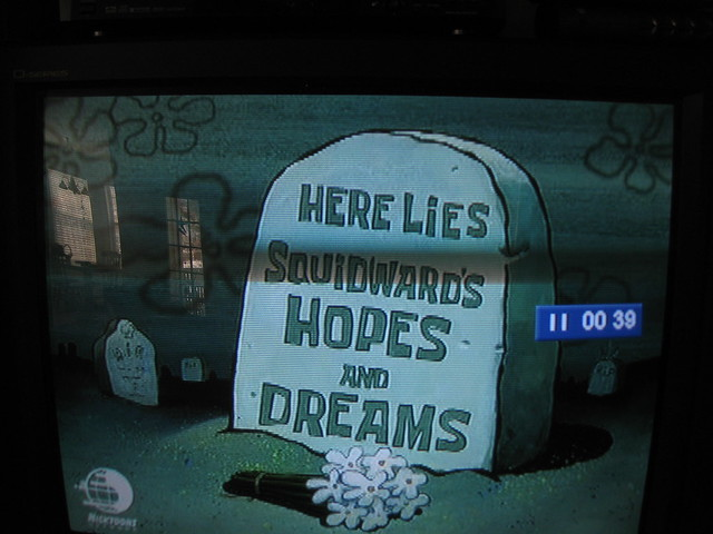 here lies squidwards hopes and dreams flickr photo
