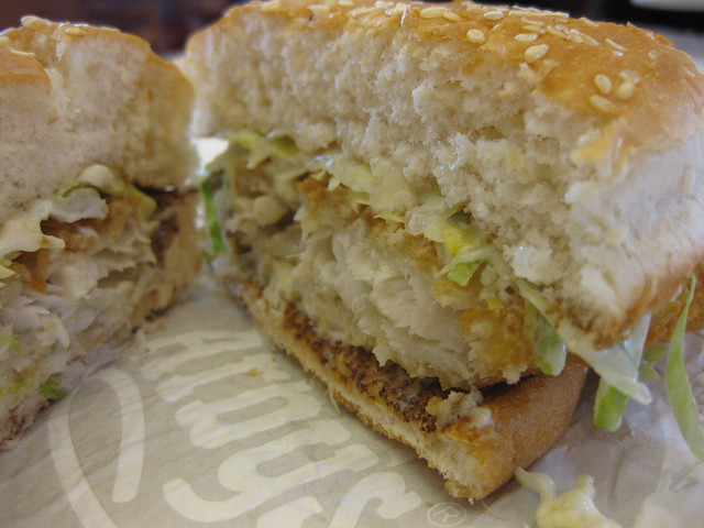 Fish sandwich from arby 39 s split flickr photo sharing for Fish sandwich fast food
