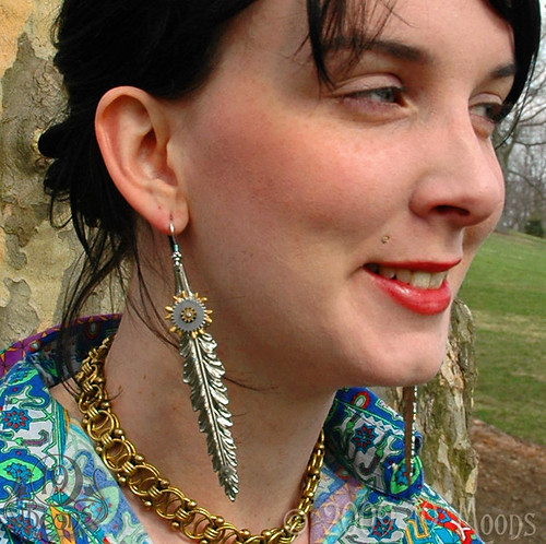 FEATHER MECHANIQUE Steampunk Vintage Collage Earrings Original by 19 Moons
