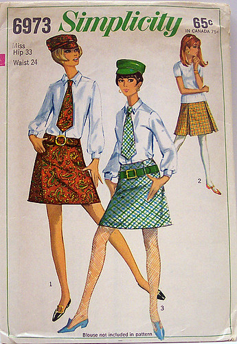Simplicity 6973 Vintage 60's Sewing Pattern Mod set of Mini Skirts, Hat, Tie and Belt