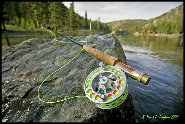 Fly rod reel on rock orvis fly rod and hatch 5 plus for Fly fishing rods