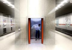 cabinas, de ascensores,un, ascensor