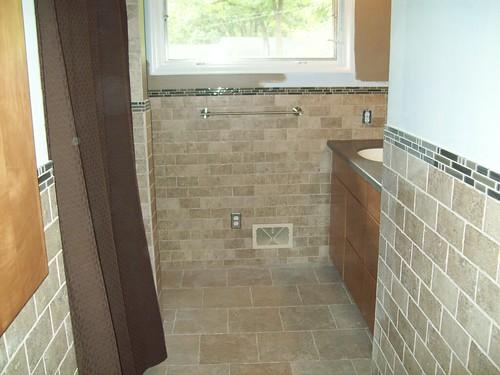 Advice for bathroom decoration redo for Half tiled bathroom ideas
