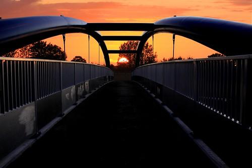 bridge sunset evening footbridge dusk norfolk walkway divinity a11 breckland attleborough westcarr