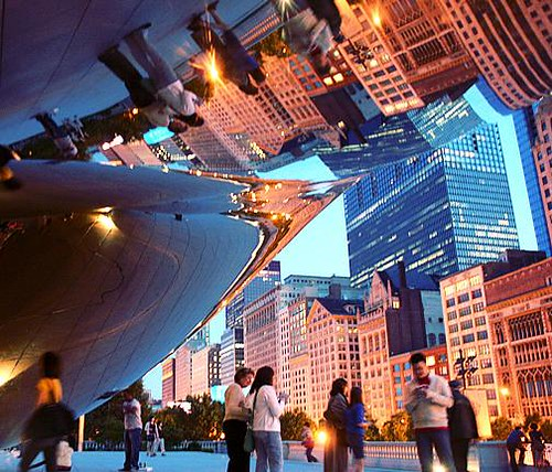 city sunset chicago night buildings reflections lights illinois downtown millenniumpark cloudgate thebean 芝加哥 looloo 伊利诺伊州 loolooimage