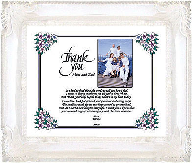 Personalized thank you to parents on wedding day