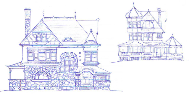 Old Victorian Houses Drawing Medium (640 � 340)