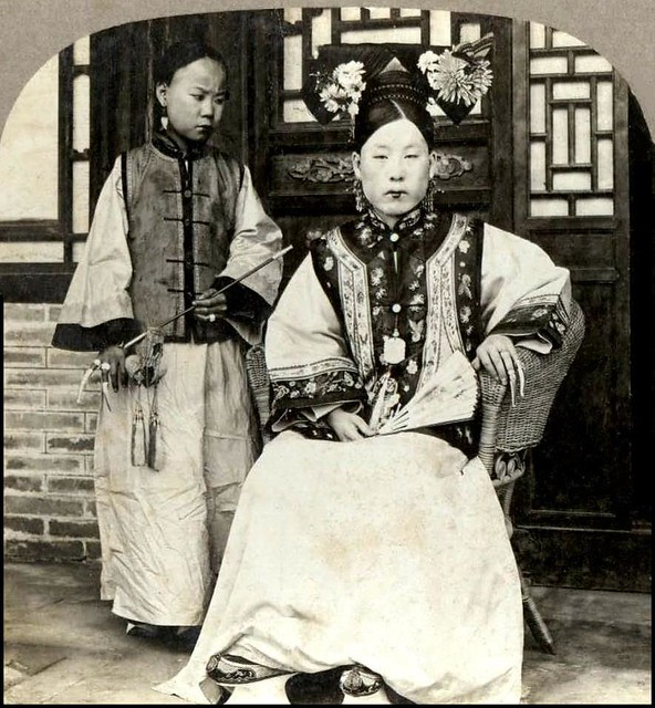 THE MANCHU MAMA of OLD CHINA and her Little Maid with a Pipe and Fingernail Protectors