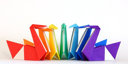 Day 69. Colorful origami swans