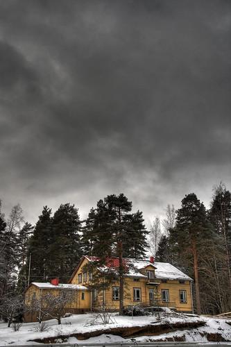 old trees sky pine architecture clouds finland landscape geotagged construction doctor hdr mäntsälä vicarage tonemapped tonemap 3exp handheldhdr elisabethrehn