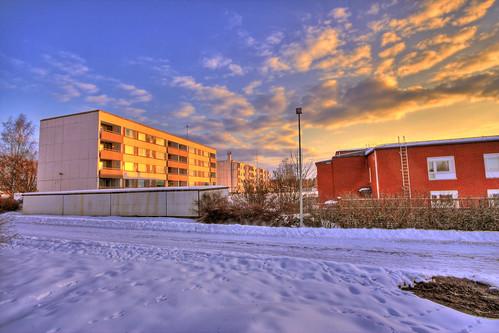 morning winter sky snow building architecture clouds sunrise finland landscape geotagged saturation hdr mäntsälä tonemapped tonemap 3exp handheldhdr