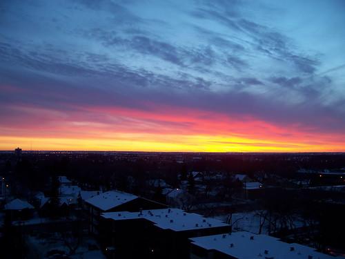 morning pink blue red canada color colour yellow sunrise dawn edmonton ab alberta strathcona 2007 2000s canadagood