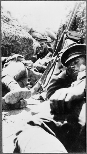 Soldiers resting in trenches, Gallipoli, 1915