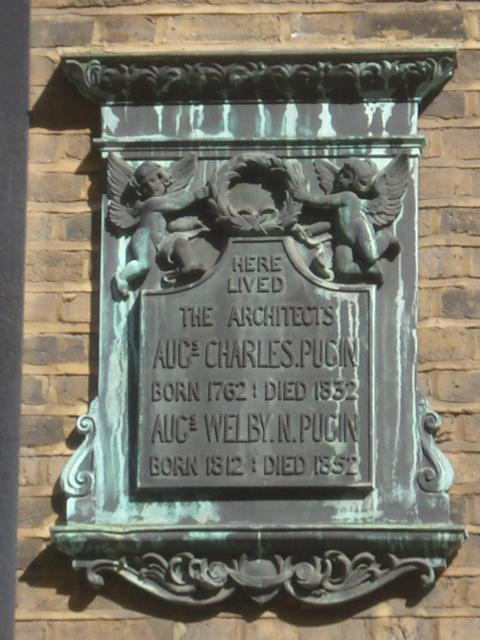 Augustus Charles Pugin and Augustus Pugin stone plaque - Here lived the architects Augustus Charles Pugin born 1762 died 1832 Augustus Welby N. Pugin born 1812 died 1852