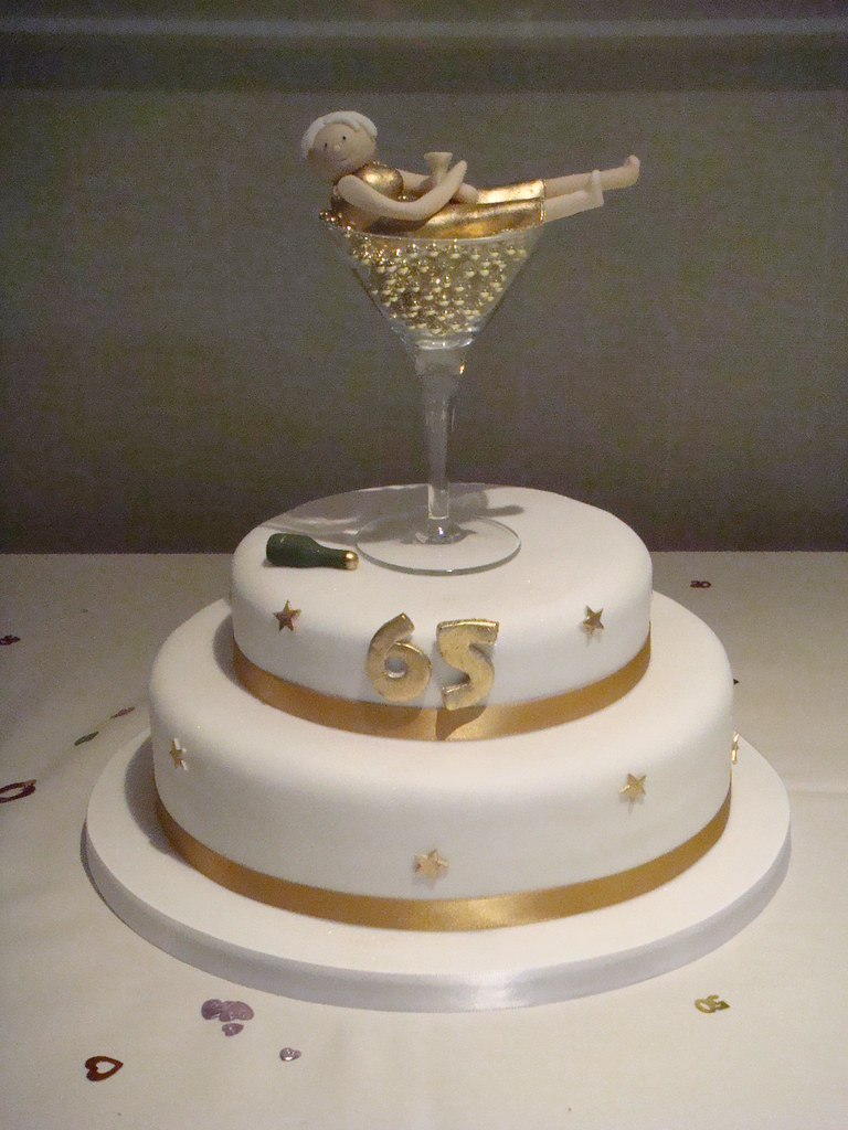 Handmadebyhannah 2 Tiier 65th Birthday Cake With Champagne Glass Topper