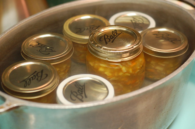 Jars in hot water bath
