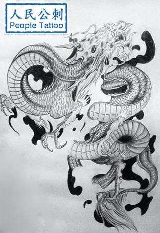 龙纹身线条局部_纹身图案