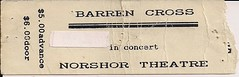 03/29/88 Barren Cross @ Duluth, MN (Ticket Stub)