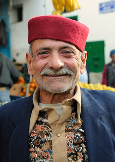 Man wearing traditional felt hat (chechias), Sfax Medina, Tunisia