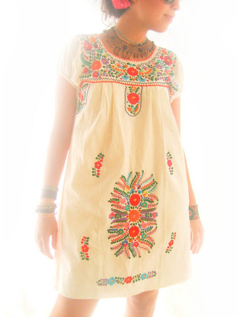 Flora mexican embroidered tunic mini dress a photo on