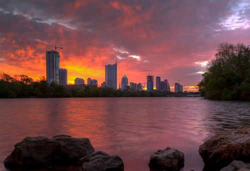 sky orange lake bird water skyline lady night sunrise austin texas cloudy cranes hdr