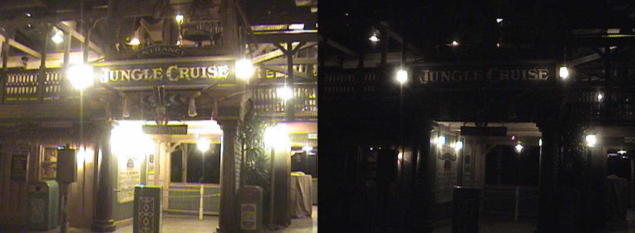 3D, Jungle Cruise, Adventureland, Disneyland®, Anaheim, California, night, color slow shutter, 2009.04.11 00:27