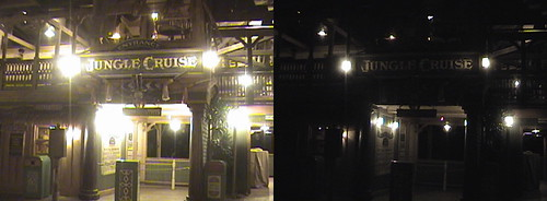 3D, Jungle Cruise, Adventureland, Disneyland®, Anaheim, California, night, color slow shutter, 2009.04.11 00:27