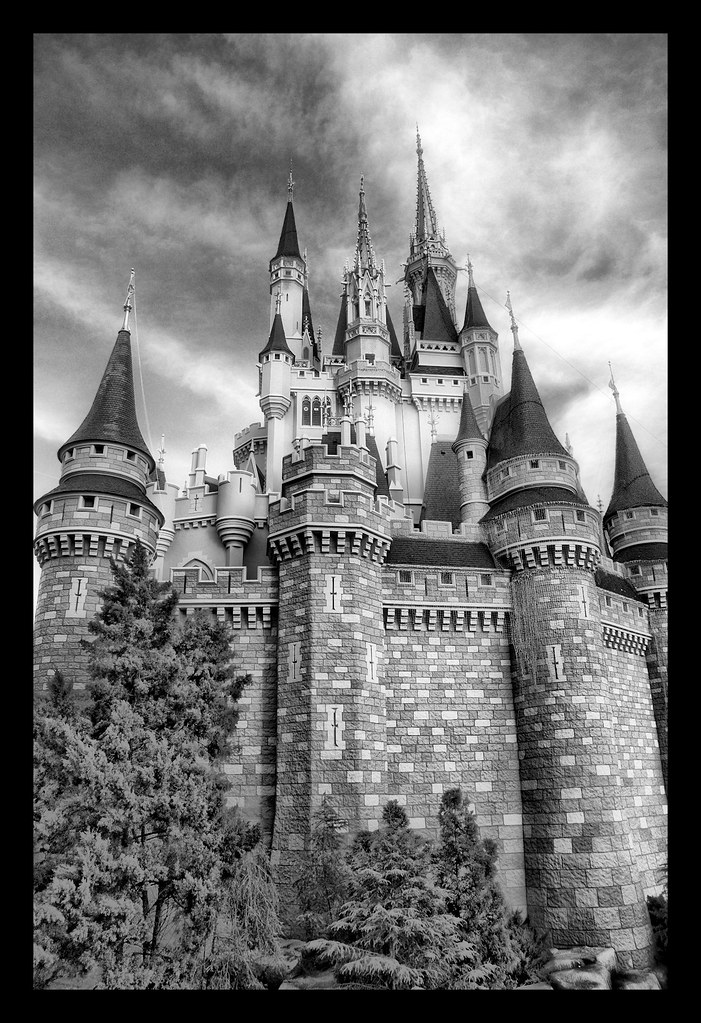 Daily Disney - Wonderful World of Color in Black & White - Cinderella Castle