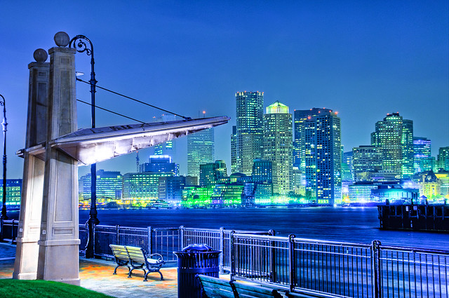 Boston Night Skyline with Bench, Piers Park