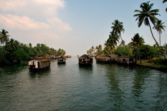 Houseboats heading into the horizon