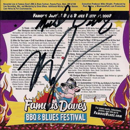 Famous Daves BBQ Blues Fest CD 2008 (Inside /w/ Autographs)