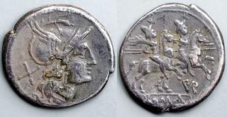 155/1 Furia PVR Denarius. Roma Dioscuri, PVR in monogram, AM#0946-40