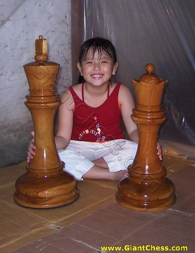 Wooden Large Chess Pieces In Brown Indoor And Outdor