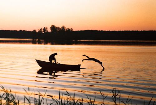 summer lake film water silhouette swim landscape boat whitenight jupiter9 zenite
