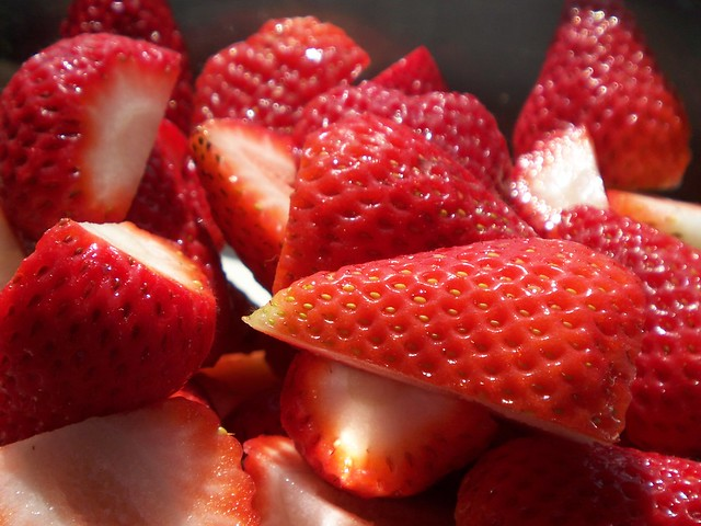 hulled and halved strawberries