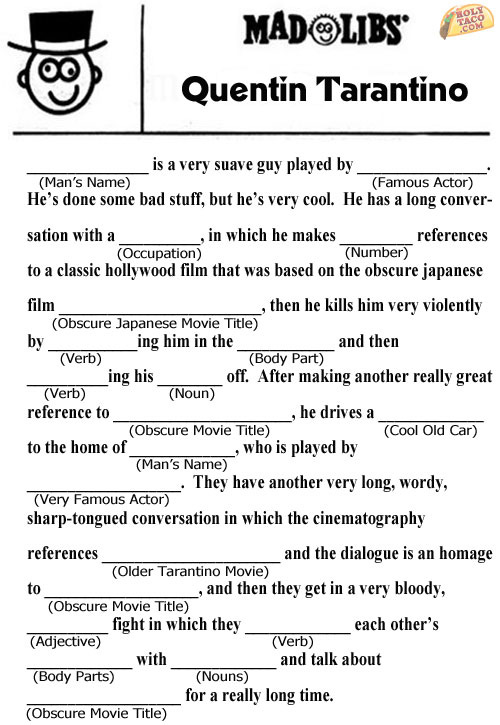 Popped Culture: Quentin Tarantino Mad Libs