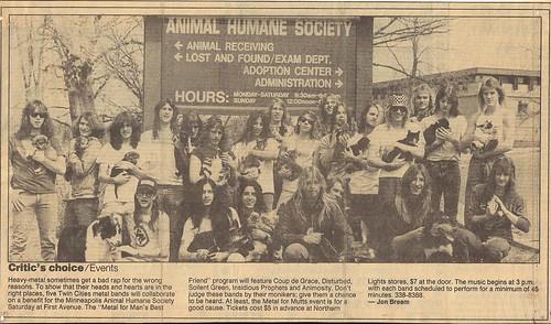 Spring 1989 - Minneapolis Animal Humane Society Benefit Concert -w- Disturbed